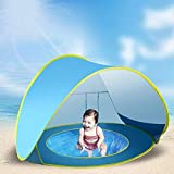 Suliper Baby Beach Tent Toy Portable Pop Up Sun Shade Kiddie Tent Pool with Canopy UV Protection Sun Shelter for Infant - Blue