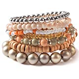 TQS Stacked Bracelets - 7Pcs Multi Layers Bracelet - Bohemian Stretch Beaded Bangle Chain Women Bone