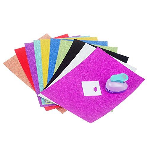 TEKEFT Holographic cards Gemstone Metallic Glitter Vinyl Art Sheets + Large Paper Craft Punchers Shapes For Scrapbook Engraving Kids Artwork (Shape random) (11.7inch)