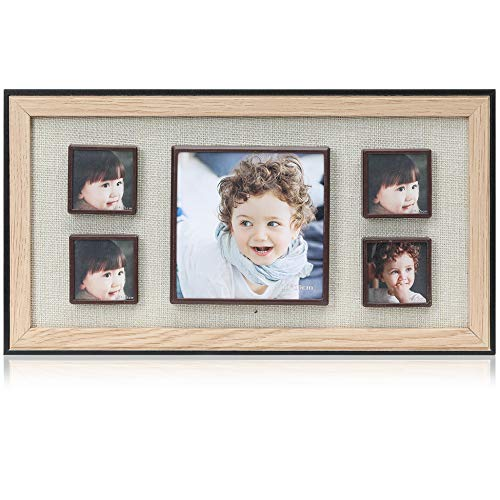 Display Shadow Box Magnetic Picture Frames Set, Linen Back Showcase Frame - 5 Photo Collage Picture Frames for Metal Surface - Home Wall Art Decor