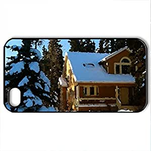 cold - Case Cover for iPhone 4 and 4s (Houses Series, Watercolor style, Black)