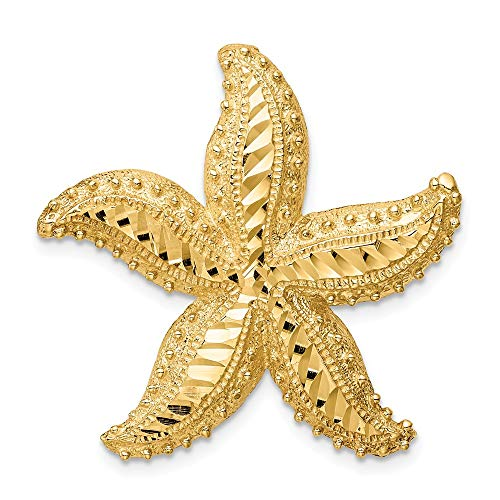 (14k Yellow Gold Starfish Slide Necklace Pendant Charm Chain Sea Shore Shell Life Cz Man Fine Jewelry Gift For Dad Mens For Him)
