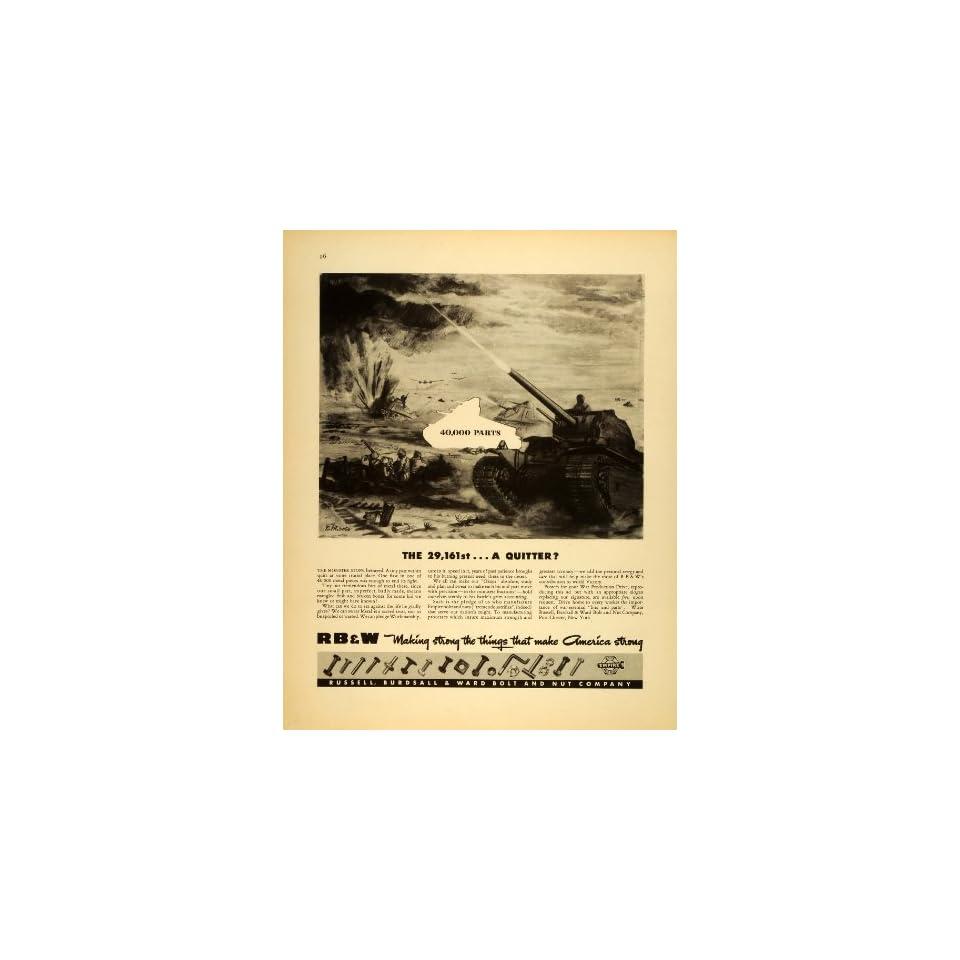1943 Ad RBW Russell Burdsall Ward Empire Bolt Nut WWII War Production Army Tank   Original Print Ad
