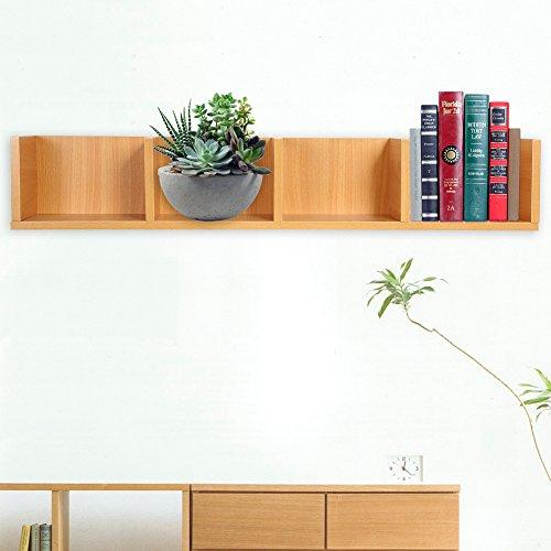 CD/DVD Storage Shelf-Modern Wall Mount Display Shelf CDs/DVDs Organizer Storage Rack Wooden Unit 4 Cases (Wood Color)