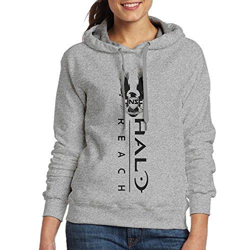 YLS Women Ha Lo Military Science Shooter Video Game Hip Hop Vintage Hoodie Sweatshirt Size M Ash