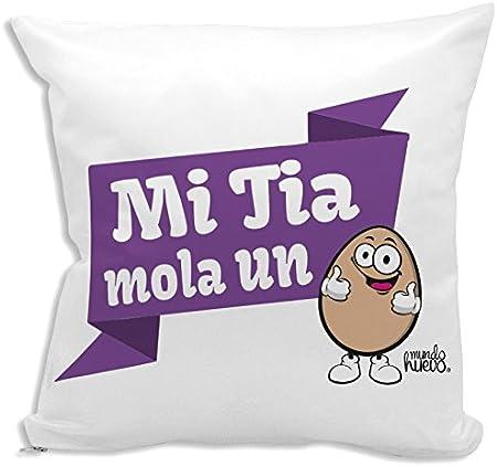 Cojín + Relleno. Mi Tia Mola un Huevo. 42,5 x 42,5 cm. Agradable Tacto Algodón: Amazon.es: Hogar