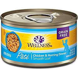 Wellness Natural Grain Free Wet Canned Cat Food, Chicken & Herring Pate, 3-Ounce Can (Pack Of 24)