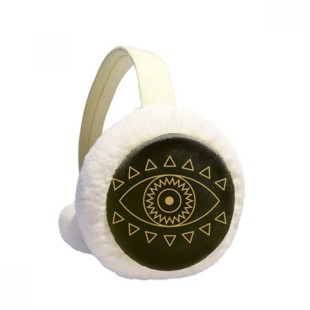 Eye Totem Geometry Pattern Winter Earmuffs Ear Warmers Faux Fur Foldable Plush Outdoor Gift