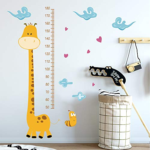 Giraffe Height Chart - decalmile Giraffe Height Chart Wall Decals Kids Measure Growth Wall Stickers Baby Nursery Childrens Bedroom Wall Decor