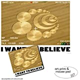 Included in delivery:1 Poster Art Print: Crop Circles - I Want To Believe (32x24 inches)1 Mouse Pad: Crop Circles - I Want To Believe (9x7 inches)In English