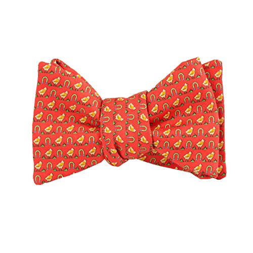 (Peter-Blair Men's Red Chick Magnet 100% Silk Bow Tie Handmade in USA (39CMR2BT))