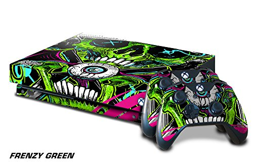 (247Skins Designer Skin Sticker for the XBOX ONE X Console With Two Wireless Controller Decals - Frenzy)