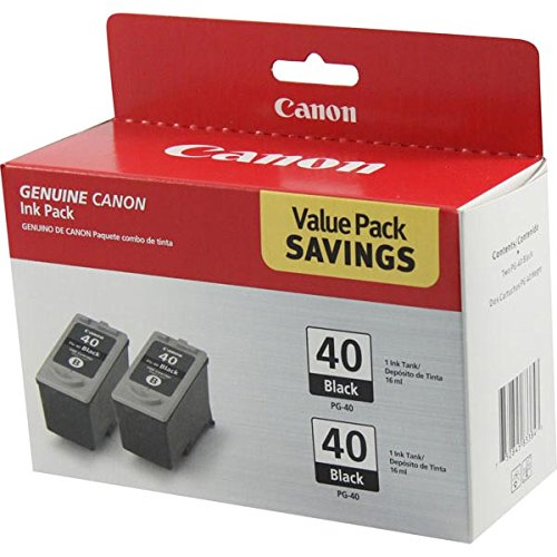 2 X Canon PG40 (PG-40) Ink Tank, 195 Page-Yield, Black ()