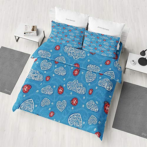 - Zilcine 3D Duvet Cover Set,Ladybugs,with Hidden Zipper Reversible Blue Checkered Pattern Comforter Cover for Girls Boys Teens Bedding(Extra Long Twin)