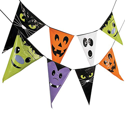 Fun Express - Large Halloween Character Pennant Banner for Halloween - Party Decor - Hanging Decor - Pennants - Halloween - 1 Piece ()