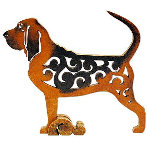 Bloodhound dog figurine, dog statue made of wood (MDF), statuette hand-painted