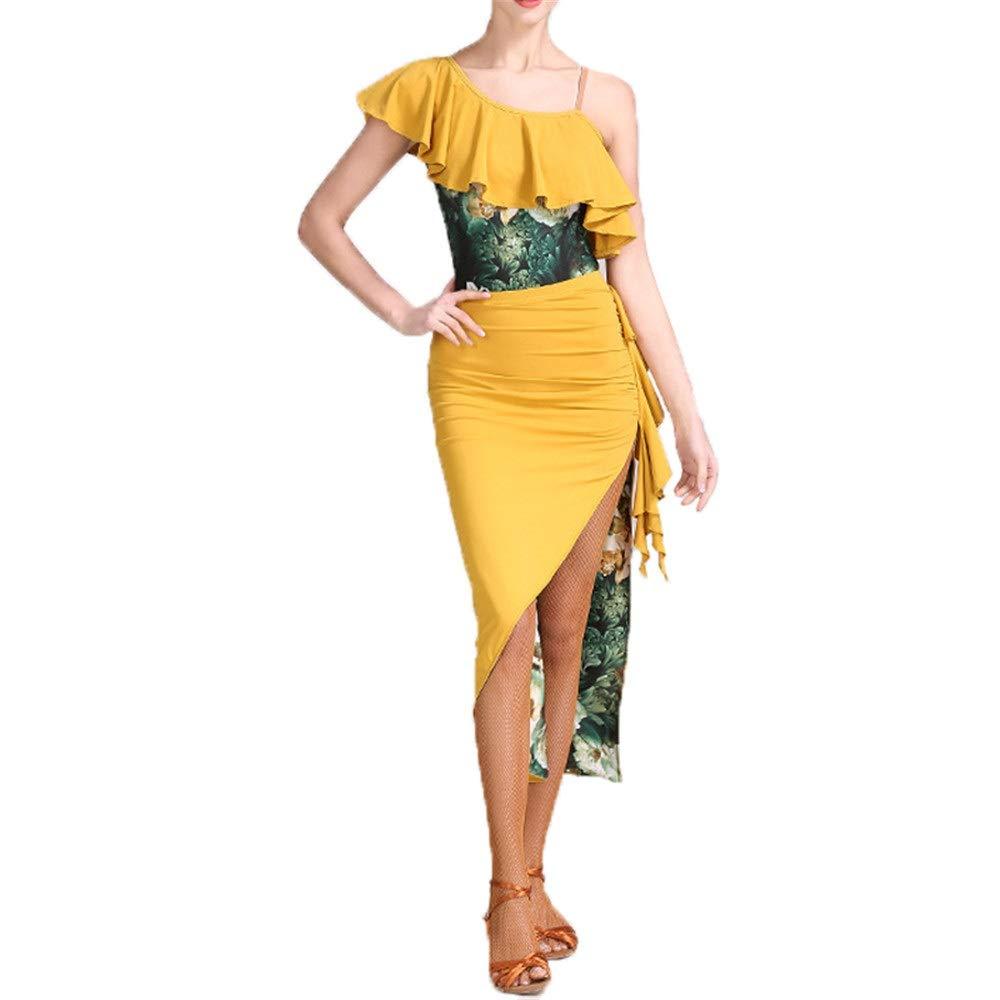 Jaune petit Robes de danse pour femmes Femmes Composites Volants Floral De Danse Latine Robe Costume Haute Fente Perforhommece Jupe Costume Compétition Professionnelle Costume De Danse Robe De Danse élégant