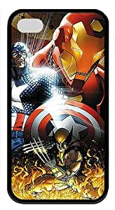 Comics iPhone 4/4s Cover Case - Marvel Civil War Soft TPU Rubber Material Black Skin Case for iPhone 4/4s by Hahashopping
