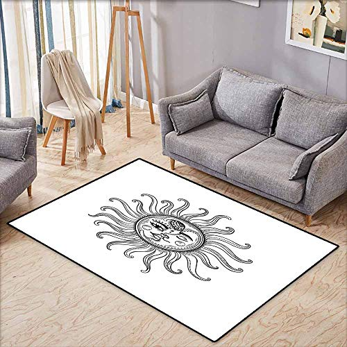 Classroom Rug,Sun,Doodle Style Vintage Symbol Retro Tribal Elements Stars Arrow Shapes and Crescent Moon,for Outdoor and Indoor,4'11