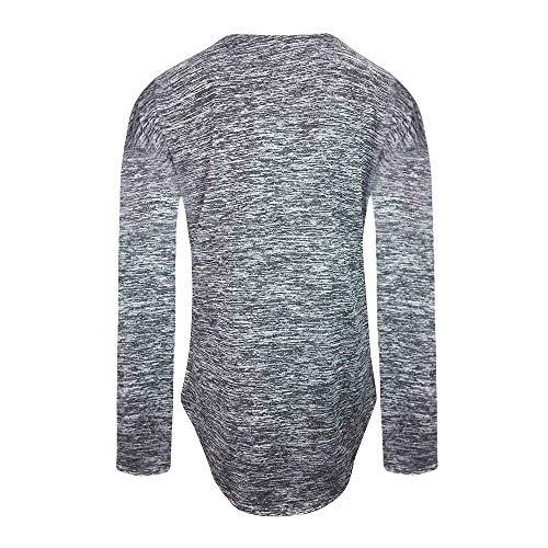 V Vtement Mode Col Zippe Casual Gris Manche Shirt Longue SANFASHION Blouse Tunique nzqSIIgw