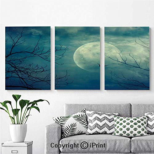 (Modern Gallery Wrapped Canvas Print Halloween with Full Moon in Sky and Dead Tree Branches Evil Haunted Forest 3 Panels Pictures on Canvas Wall Art Ready to Hang for Living)