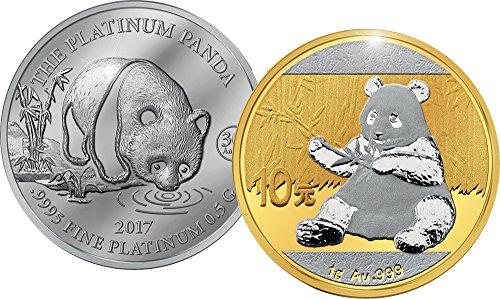 Commemorative Coin China (2017 CN Commemorative Set PowerCoin PANDA Jubilee Set Platinum Gold Coin 5$ 10 Yuan China Cook Islands 2017 Proof)