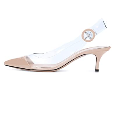 93dd7e47c0d Sammitop Women s Cap-Toe Slingback Pumps Transparent Shoes Kitten Heel  Comfort Lady Shoes Beige US5