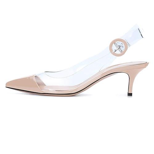 dernier images détaillées nouvelles promotions elashe Chaussure Femme Transparent Talon Slingback Sandales Soirée À  Enfiler Escarpins Taille