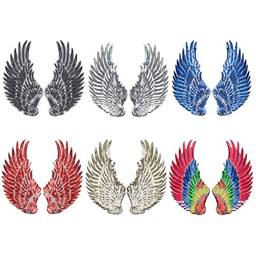 - Calculs 6 Pair Sequin Patches Angel Wings Iron On Patch DIY Embroidered Applique Bling Wings for Jackets Bags Decoration Valentine's Day Gifts Medium
