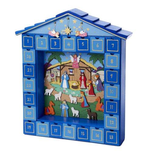 Kurt Adler Wooden Christmas Nativity Advent Calendar, 14-Inch