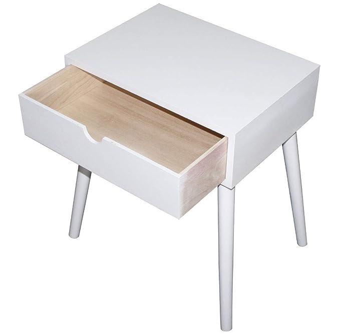LioLiving KMH, mesita/mesita de Noche Mango Blanca, con Cajón en Diseño Moderno y escandinavo (# 800074)
