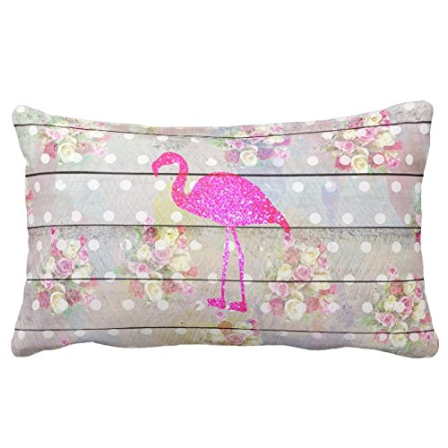 UOOPOO Elegant Vintage Wood Floral Flamingo Glitter Print Cotton Canvas Pillow Case 12 x 18 Inches Square Happy New Year Cushion Cover for Sofa Print One Side