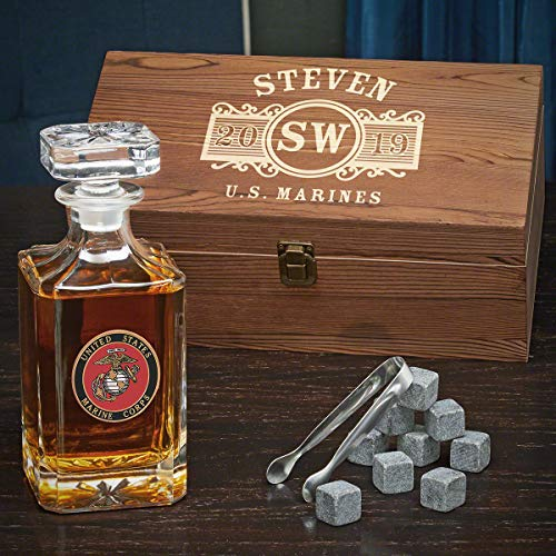 US Marines Marquee Custom Carson Whiskey Decanter Set (Personalized ()