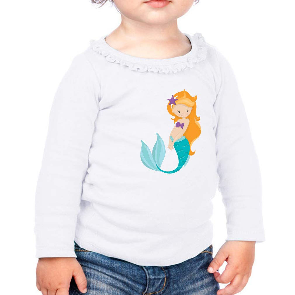 Mermaid Red Hair Swims Cotton Girl Toddler Long Sleeve Ruffle Shirt Top