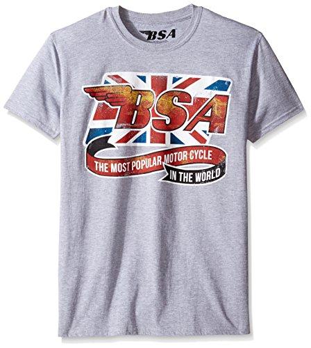 T-Line Men's BSA Motorcycles Flag Ribbon Graphic T-Shirt, Athletic Heather, - Motor Ribbon
