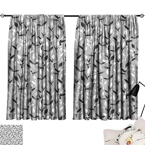 Tie Up Printed Blackout Curtain Simple and cute floral seamless pattern White and black spring leaves hand painted with watercolor Nature drawing leaf on grey background Art backdrop wallpaper Beauti