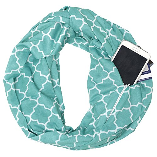 Pop Fashion Teal Scarf, Infinity Scarf, Infinity Scarves, Fashion Scarves with Zipper Pocket & Pattern