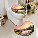 PRUNUS 2 Piece Toilet Cover set Tropical India Goa Arambol Sweet with Trees Scenery Non-slip Soft Absorbent Heart shaped foot pad