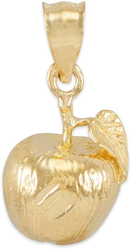 Polished 14k Yellow Gold Leaf and Fruit Charm Apple Pendant