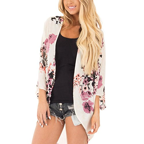 Price comparison product image MOSE White printed cardigan for women,  summer blouse Floral Print Chiffon Boho Style Kimono Oversized Cardigan (White,  L)