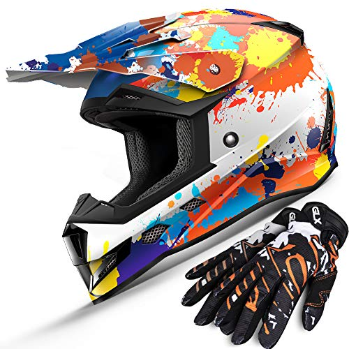 GLX Youth Kids Motocross Dirt Bike & ATV Downhill Helmet, DOT Certified (Large, Splatter Blue Orange Yellow) + Introductory Promotion FREE Off-Road Gloves