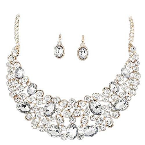 Cognac Quartz Earrings (Fheaven 40 X3.5cm Jewelry Women Gold Plated Diamond Jewelry Set Party Necklace Earrings Set Alloy Gift (Silver))
