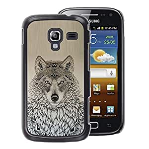 A-type Arte & diseño plástico duro Fundas Cover Cubre Hard Case Cover para Samsung Galaxy Ace 2 (Wolf Native American Pattern Black Drawing)