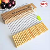 24 x Barbecue Skewers Marshmallow Roasting Sticks Wooden Handle Reusable Stainless Steel Metal BBQ Skewers with Wooden Handle (Set of 24)