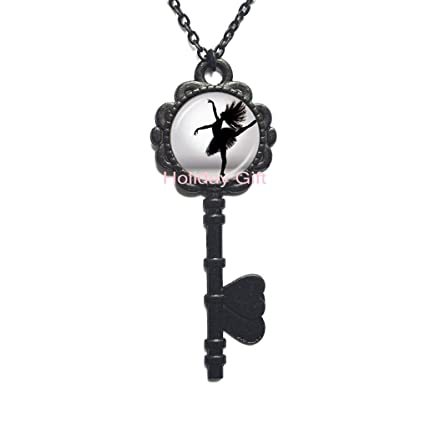 Vintage Cabochon Glass Necklace bronze chain pendants:music dance ballet girl