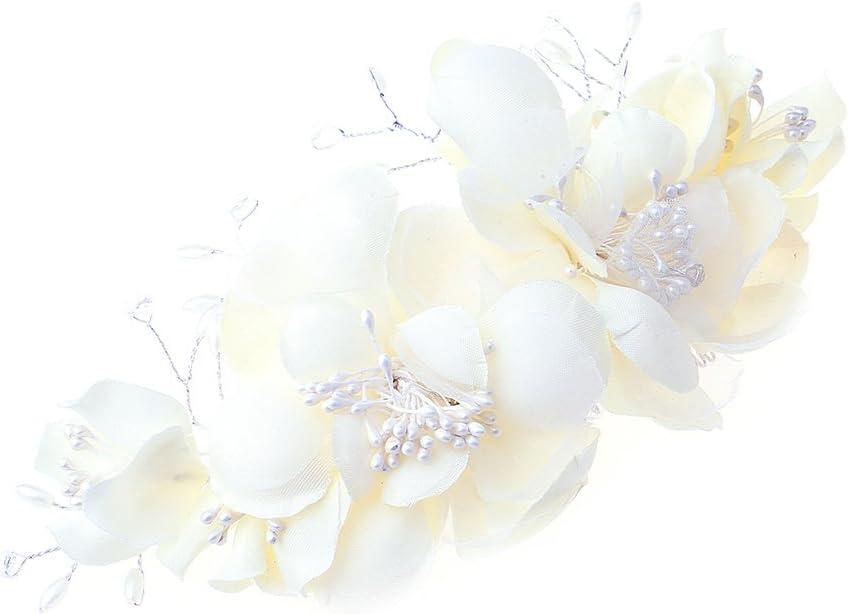 finto fiore Pettine da sposa per matrimonio con pizzo floreale pettine da sposa bianco accessorio per capelli