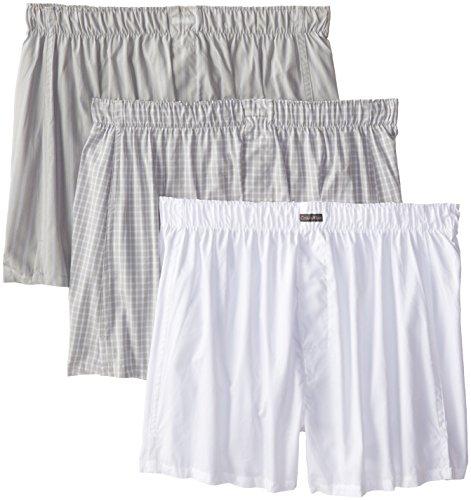 Calvin Klein Men's Cotton Classics 3 Pack Boxers, Exxex Stripe/White/Alexander Plaid, - Knit Gray Boxers