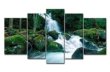 Fashion Style Vert 5 Pièces Art Peinture Idéal Smoky Montagne VTT Chute  Du0027Eau Pierre Arbres ...