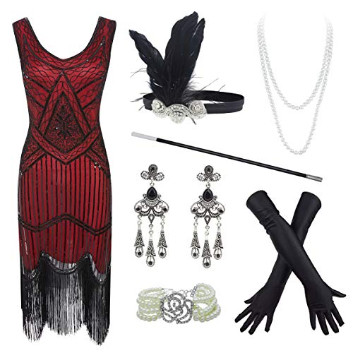 20s Flapper Gatsby Sequin Beaded Evening Cocktail Dress with Accessories Set (X-Large, Wine) -