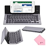 BoxCave Portable Foldable Aluminum Alloy Bluetooth 3.0 Wireless Keyboard with Kickstand Holder & 180 days Standby Time for Apple iPad iPhone iOS, Android, Windows (Gray)